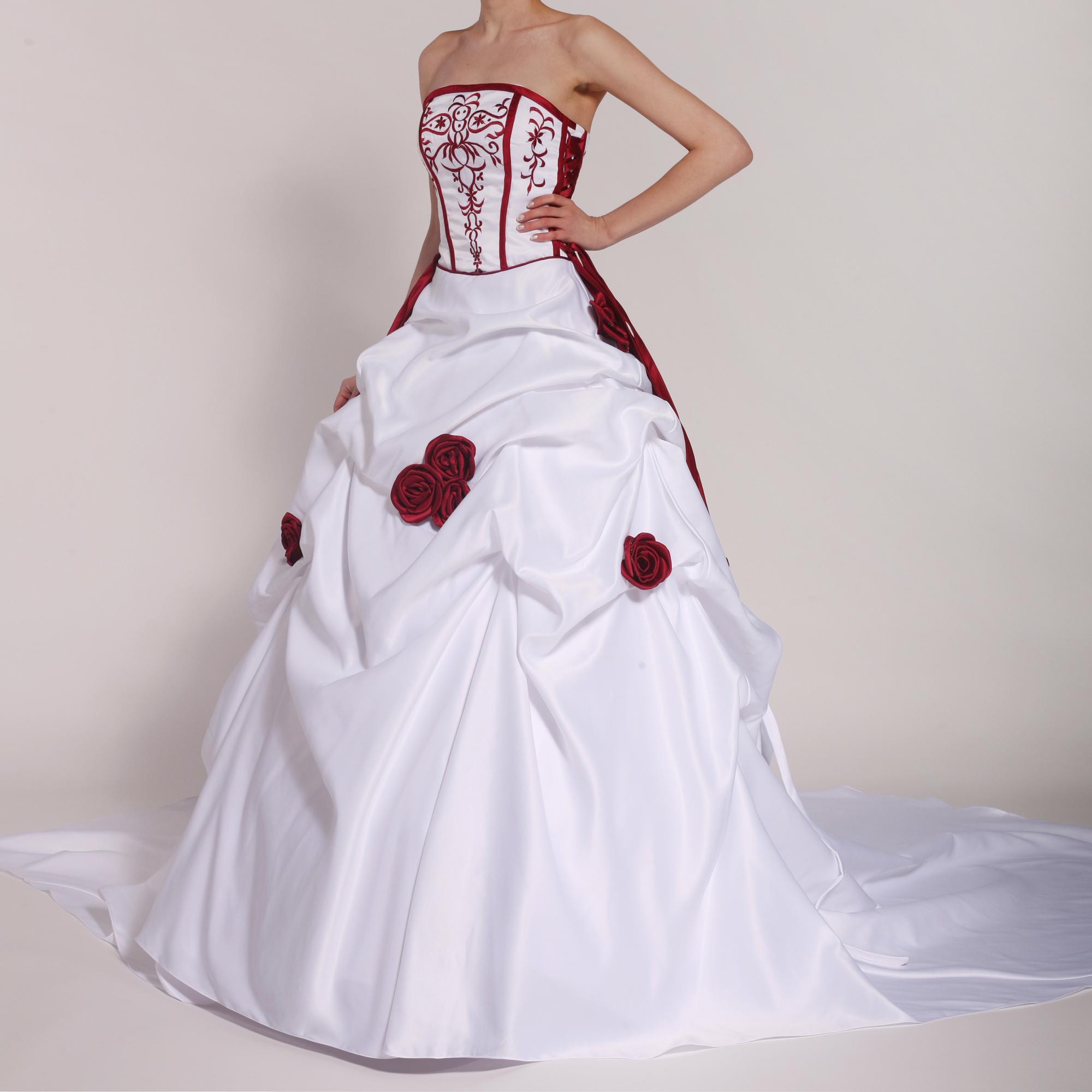 Brautkleid H12 weiß mit roten Blumen