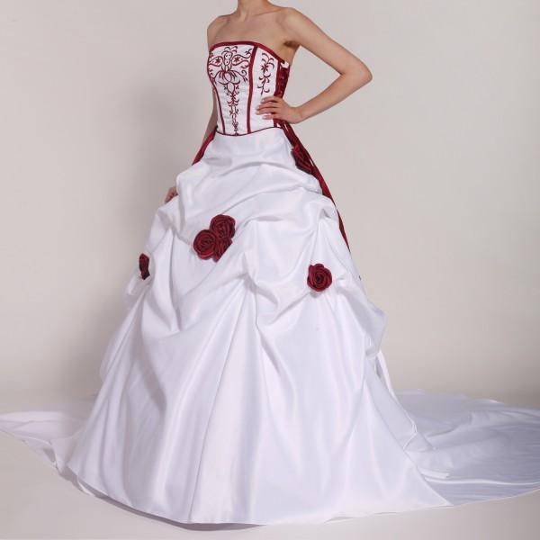 Brautkleid H201 weiß mit roten Blumen